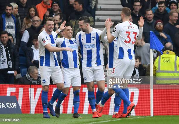 Anthony Knockaert of Brighton and Hove Albion celebrates after scoring his team's first goal with his team mates during the FA Cup Fifth Round match...