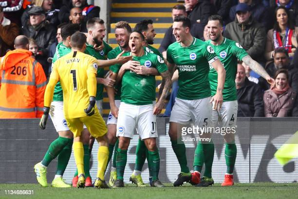 Anthony Knockaert of Brighton and Hove Albion celebrates after scoring his team's second goal with his team mates during the Premier League match...