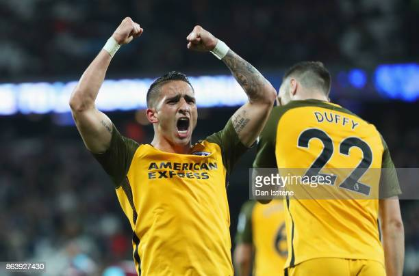 Anthony Knockaert of Brighton and Hove Albion celebrates as Glenn Murray scores their third goal from the penalty spot during the Premier League...