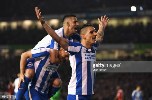 Anthony Knockaert of Brighton and Hove Albion celebrates his side second goal after Tomer Hemed of Brighton and Hove Albion scores during the Sky Bet...