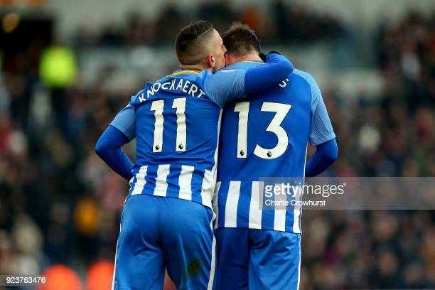Anthony Knockaert of Brighton and Hove Albion celebrates scoring his side's third goal with Pascal Gross during the Premier League match between...