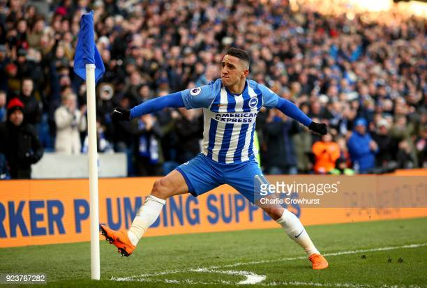 Anthony Knockaert of Brighton and Hove Albion celebrates scoring his side's third goal during the Premier League match between Brighton and Hove...