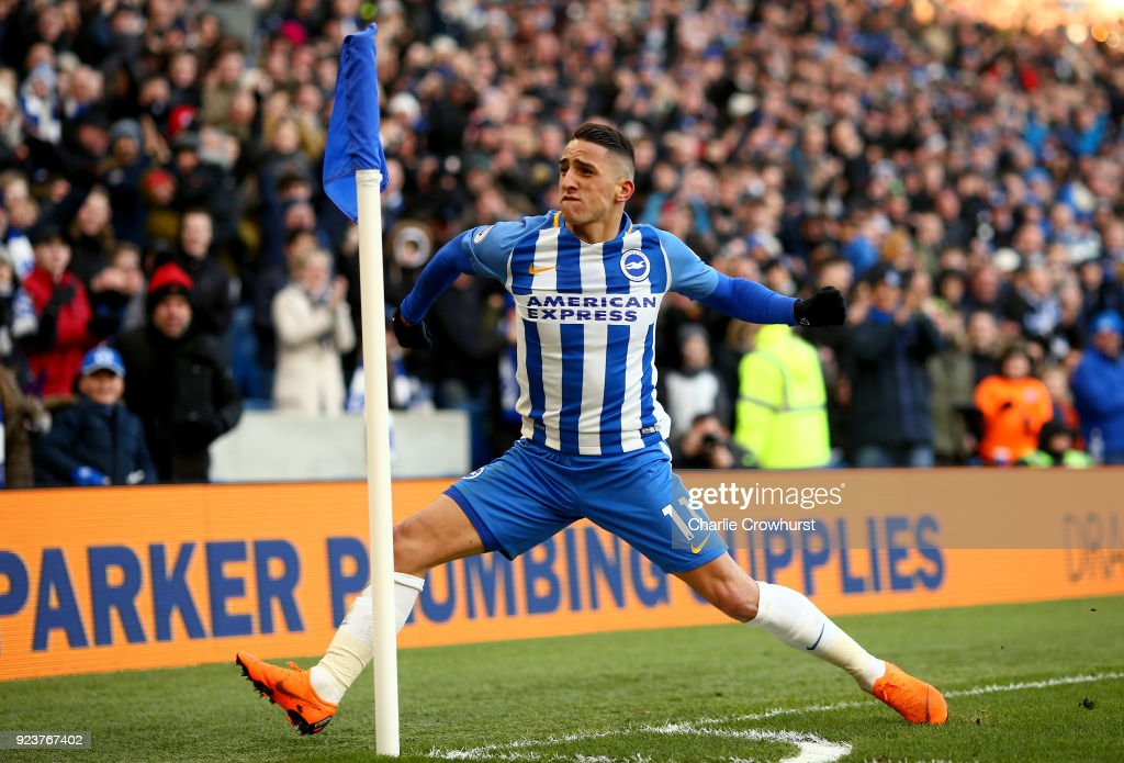 Anthony Knockaert of Brighton and Hove Albion celebrates scoring his side's third goal during the Premier League match between Brighton and Hove Albion and Swansea City at Amex Stadium on February 24, 2018 in Brighton, England.