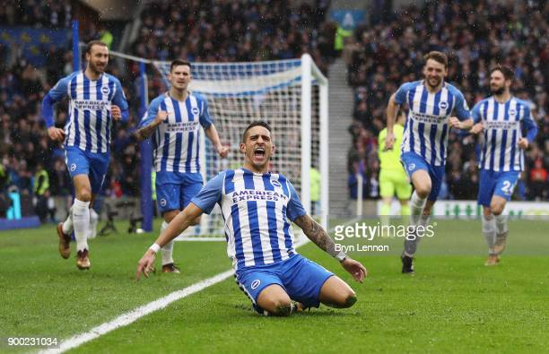 Anthony Knockaert of Brighton and Hove Albion celebrates scoring the opening goal during the Premier League match between Brighton and Hove Albion...