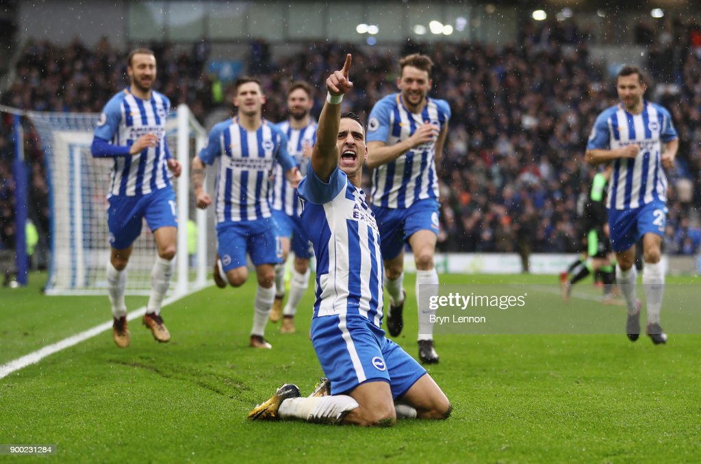 Anthony Knockaert of Brighton and Hove Albion celebrates scoring the opening goal during the Premier League match between Brighton and Hove Albion and AFC Bournemouth at Amex Stadium on January 1, 2018 in Brighton, England.