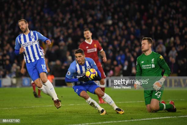 Anthony Knockaert of Brighton and Hove Albion collects the ball after Glenn Murray of Brighton and Hove Albion scored his sides first goal during the...
