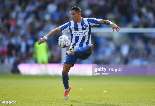 Anthony Knockaert of Brighton and Hove Albion controls the ball during the Sky Bet Championship match between Brighton Hove Albion and Bristol City...