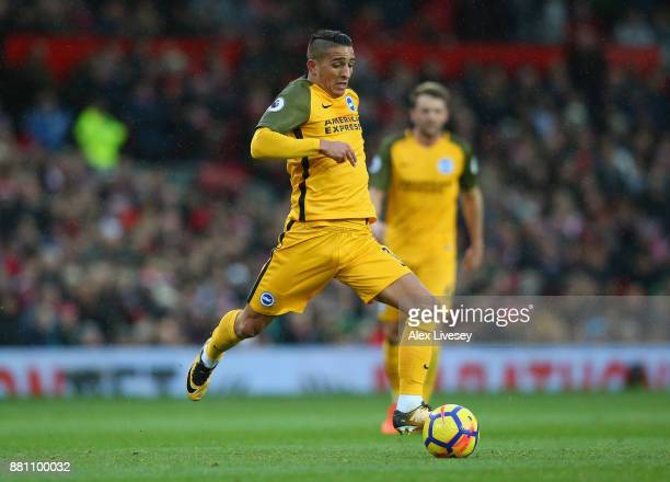 Anthony Knockaert of Brighton and Hove Albion controls the ball during the Premier League match between Manchester United and Brighton and Hove...