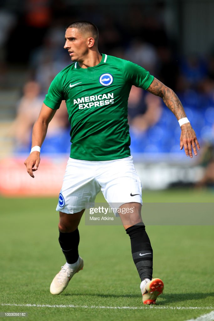 Anthony Knockaert of Brighton and Hove Albion during the pre season friendly match between AFC Wimbledon and Brighton and Hove Albion at The Cherry Red Records Stadium on July 21, 2018 in Kingston upon Thames, England.