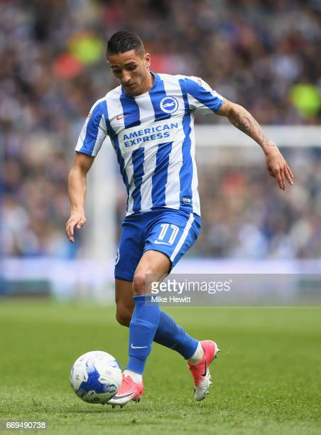 Anthony Knockaert of Brighton and Hove Albion in action during the Sky Bet Championship match between Brighton and Hove Albion and Wigan Athletic at...