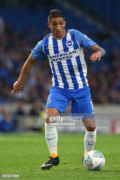 Anthony Knockaert of Brighton and Hove Albion in action during the Carabao Cup Second Round match between Brighton Hove Albion and Barnet at Amex...