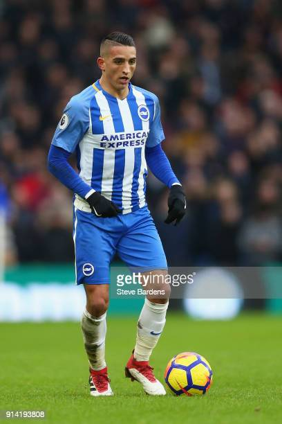 Anthony Knockaert of Brighton and Hove Albion in action during the Premier League match between Brighton and Hove Albion and West Ham United at Amex...