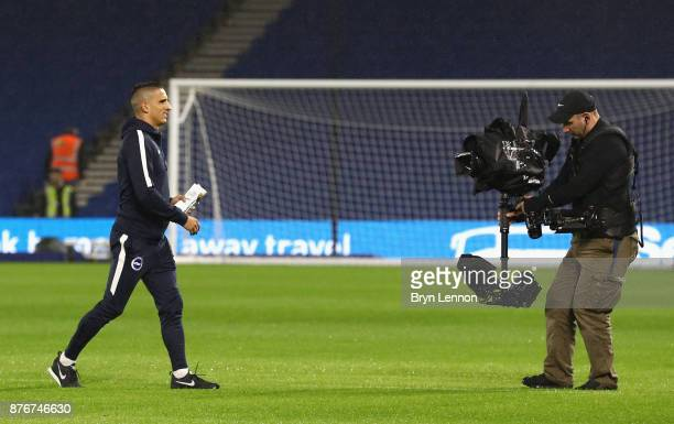 Anthony Knockaert of Brighton and Hove Albion is recoreded prior to the Premier League match between Brighton and Hove Albion and Stoke City at Amex...
