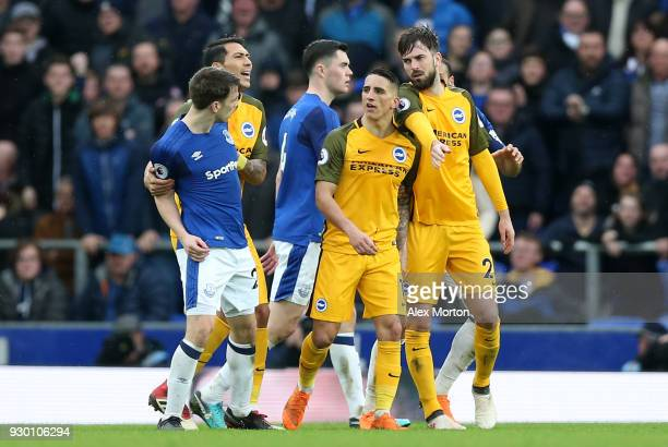 Anthony Knockaert of Brighton and Hove Albion leaves the pitch following being shown a red card during the Premier League match between Everton and...
