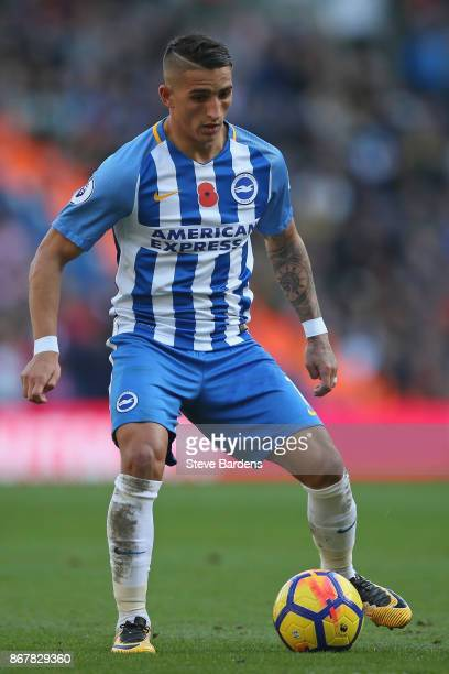 Anthony Knockaert of Brighton and Hove Albion looks on during the Premier League match between Brighton and Hove Albion and Southampton at Amex...