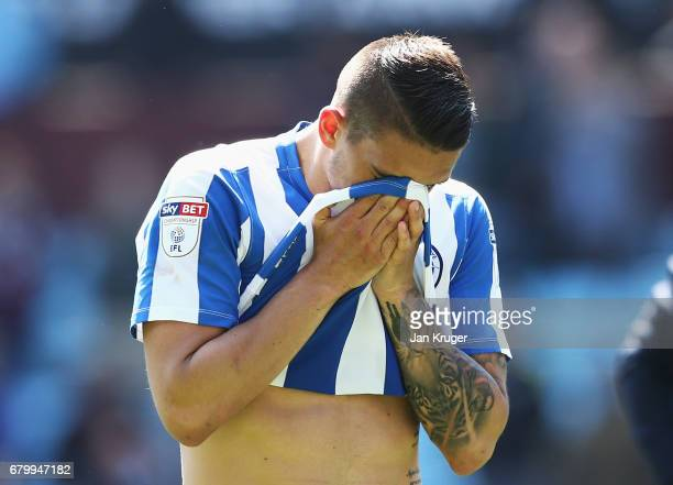 Anthony Knockaert of Brighton and Hove Albion reacts after the Sky Bet Championship match between Aston Villa and Brighton Hove Albion at Villa Park...