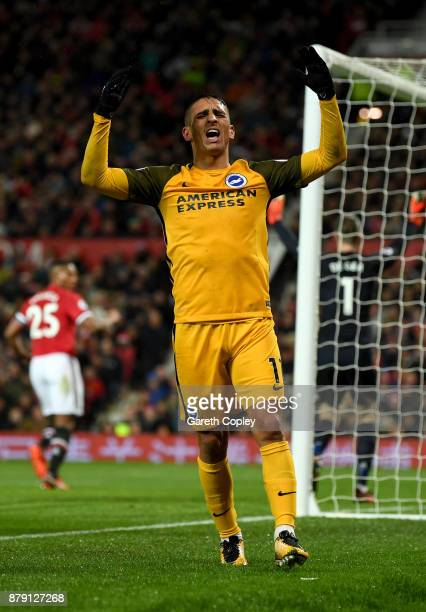 Anthony Knockaert of Brighton and Hove Albion reacts during the Premier League match between Manchester United and Brighton and Hove Albion at Old...