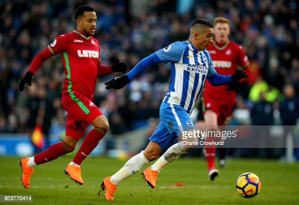 Anthony Knockaert of Brighton and Hove Albion runs with the ball during the Premier League match between Brighton and Hove Albion and Swansea City at...
