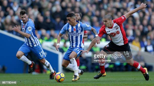 Anthony Knockaert of Brighton and Hove Albion takes on Oriol Romeu of Southampton during the Premier League match between Brighton and Hove Albion...