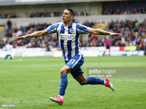 Anthony Knockaert of Brighton Hove Albion celebrates after scoring a goal to make it 01 during the Sky Bet Championship match between Wolverhampton...