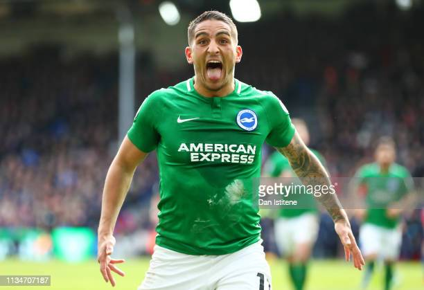 Anthony Knockaert of Brighton Hove Albion celebrates after scoring his team's second goal during the Premier League match between Crystal Palace and...