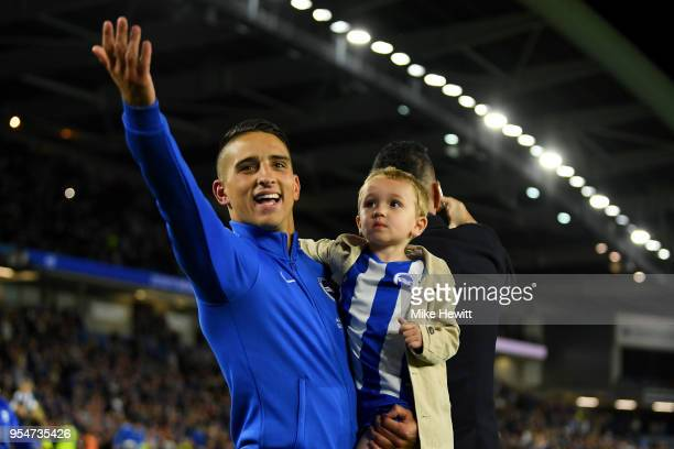 Anthony Knockaert of Brighton Hove Albion celebrates after the Premier League match between Brighton and Hove Albion and Manchester United at Amex...