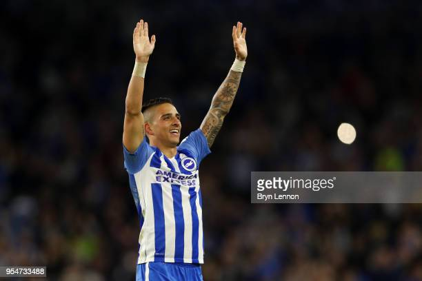 Anthony Knockaert of Brighton Hove Albion celebrates at the end of the Premier League match between Brighton and Hove Albion and Manchester United at...