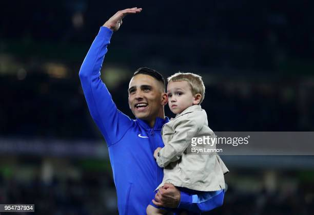 Anthony Knockaert of Brighton Hove Albion celebrates on the pitch after the Premier League match between Brighton and Hove Albion and Manchester...