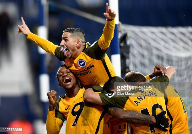 Anthony Knockaert of Brighton Hove Albion celebrates the second goal of Glenn Murray during the FA Cup Fourth Round Replay match between West...