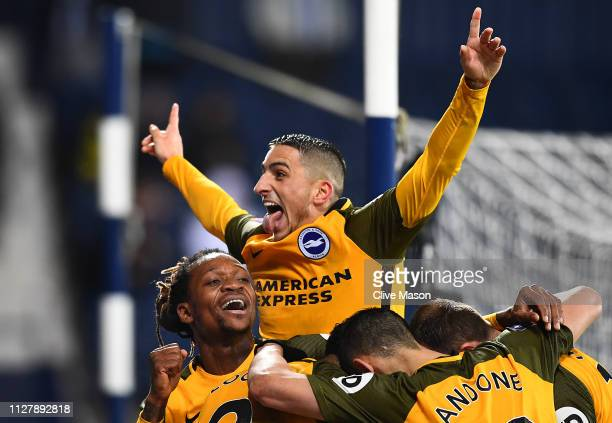 Anthony Knockaert of Brighton Hove Albion celebrates the second goal of Glenn Murray of Brighton Hove Albion during the FA Cup Fourth Round Replay...