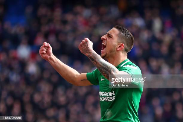Anthony Knockaert of Brighton Hove Albion celebrates victory after the Premier League match between Crystal Palace and Brighton Hove Albion at...