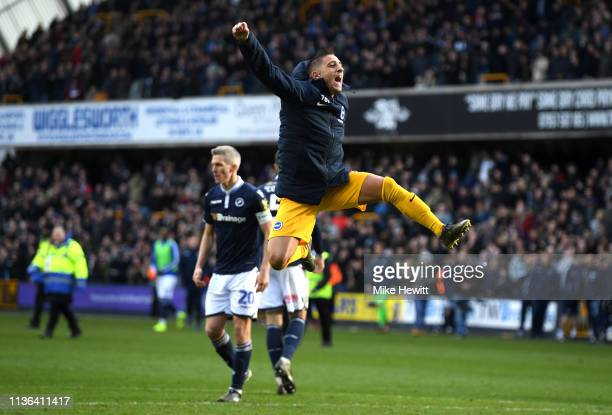 Anthony Knockaert of Brighton Hove Albion celebrates victory during the FA Cup Quarter Final match between Millwall and Brighton and Hove Albion at...