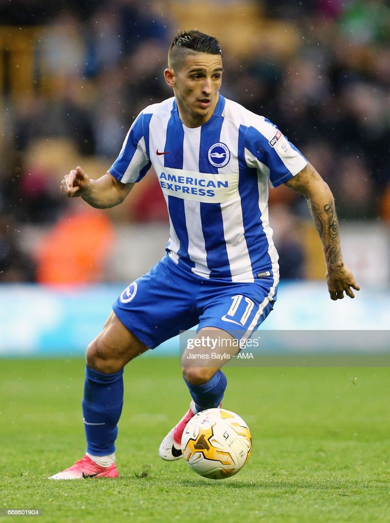 Anthony Knockaert of Brighton & Hove Albion during the Sky Bet Championship match between Wolverhampton Wanderers and Brighton & Hove Albion at Molineux on April 15, 2017 in Wolverhampton, England.