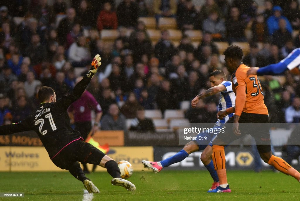 Anthony Knockaert of Brighton & Hove Albion scores the second goal during the Sky Bet Championship match between Wolverhampton Wanderers and Brighton & Hove Albion at Molineux Stadium on April 14, 2017 in Wolverhampton, England.