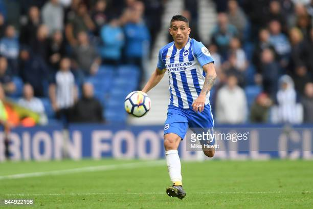 Anthony Knockaert of Brighton in action during the Premier League match between Brighton and Hove Albion and West Bromwich Albion at Amex Stadium on...