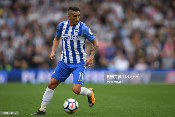 Anthony Knockaert of Brighton in action during the Premier League match between Brighton and Hove Albion and Newcastle United at Amex Stadium on...