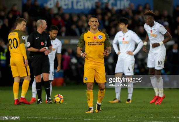 Anthony Knockaert of Brighton in action during the Premier League match between Swansea City and Brighton and Hove Albion at The Liberty Stadium on...