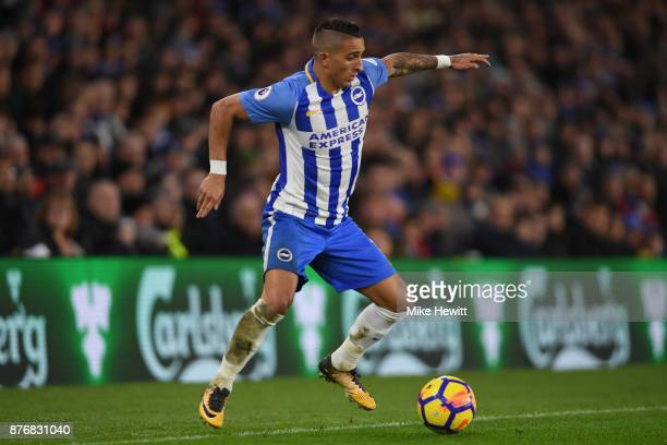 Anthony Knockaert of Brighton in action during the Premier League match between Brighton and Hove Albion and Stoke City at Amex Stadium on November...