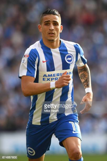 Anthony Knockaert of Brighton in action during the Sky Bet Championship match between Brighton Hove Albion and Bristol City at Amex Stadium on April...
