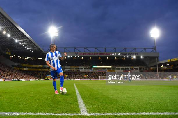 Anthony Knockaert of Brighton lines up a free kick during the Sky Bet Championship match between Norwich City and Brighton Hove Albion at Carrow Road...