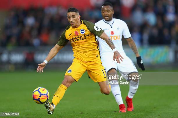 Anthony Knockaert of Brighton tracked by Jordan Ayew of Swansea during the Premier League match between Swansea City and Brighton and Hove Albion at...