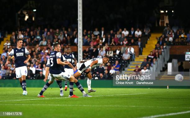 Anthony knockaert of Fulham FC scores his teams second goal during the Sky Bet Championship match between Fulham and Millwall at Craven Cottage on...