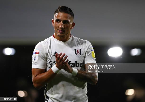 Anthony Knockaert of Fulham is pictured during the Sky Bet Championship match between Fulham and Leeds United at Craven Cottage on August 21 2019 in...