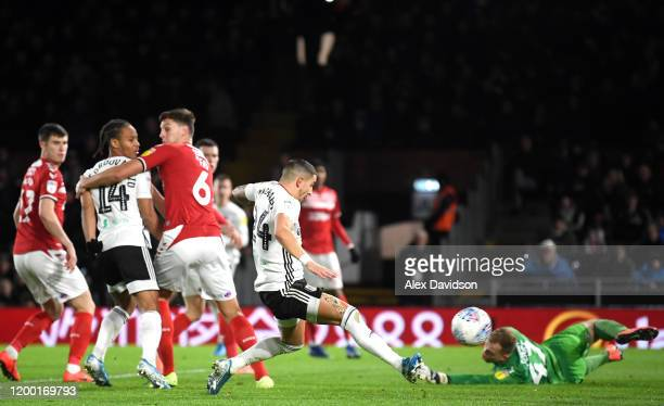 Anthony Knockaert of Fulham scores his sides first goal during the Sky Bet Championship match between Fulham and Middlesbrough at Craven Cottage on...
