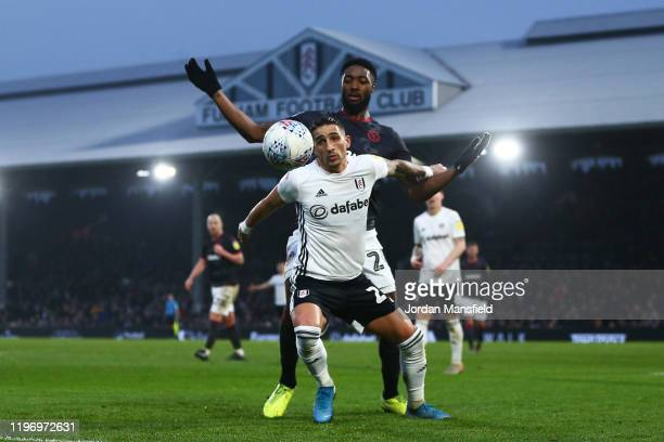Anthony Knockaert of Fulham tackles with Tyler Blackett of Reading during the Sky Bet Championship match between Fulham and Reading at Craven Cottage...