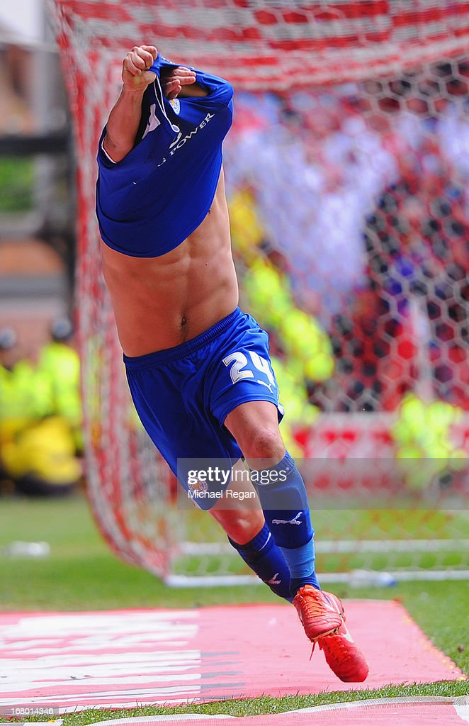 Anthony Knockaert of Leicester celebrates scoring to make it 3-2 during the npower Championship match between Nottingham Forest and Leicester City at the City Ground on May 4, 2013 in Nottingham, England.