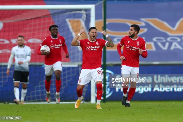 Anthony Knockaert of Nottingham Forest celebrates after scoring their side's first goal during The Emirates FA Cup Fourth Round match between Swansea...