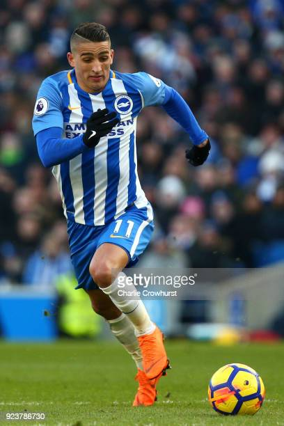 Anthony Knockhaert of Brighton attacks during the Premier League match between Brighton and Hove Albion and Swansea City at Amex Stadium on February...