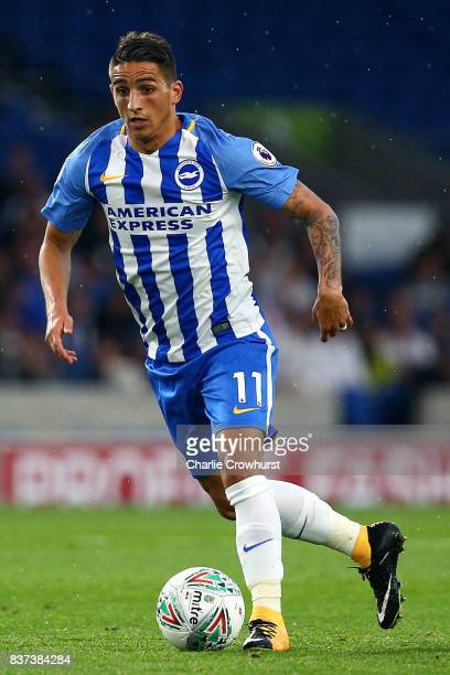 Anthony Knockhaert of Brighton in action during the Carabao Cup Second Round match between Brighton Hove Albion and Barnet at Amex Stadium on August...