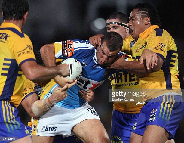 Anthony Laffranchi of the Titans attempts to break through the Eels defence during the NRL trial match between the Parramatta Eels and the Gold Coast...